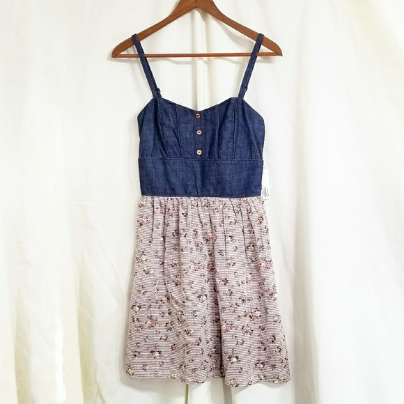 e0e79486fc97 Forever 21 Dresses | Denim Floral Dress Brown Stripes Ruched | Poshmark